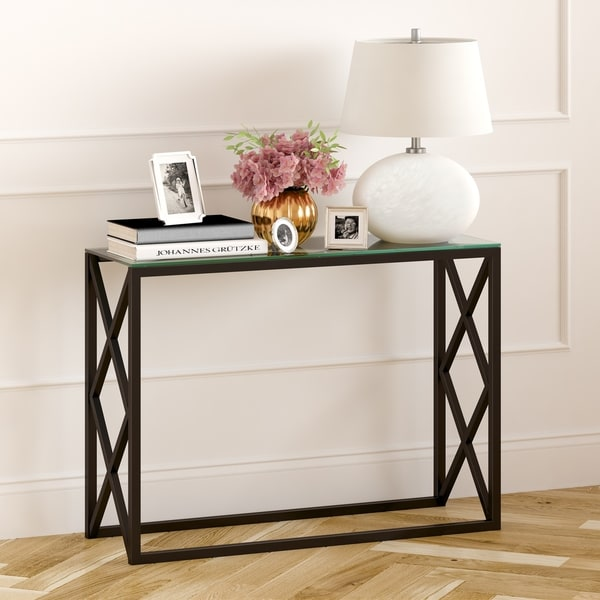 Silver Orchid Stifter Geometric X-base Metal/ Glass Console Table