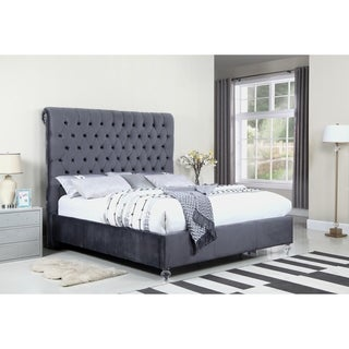 Best Quality Furniture Velvet Button-tufted Panel Bed