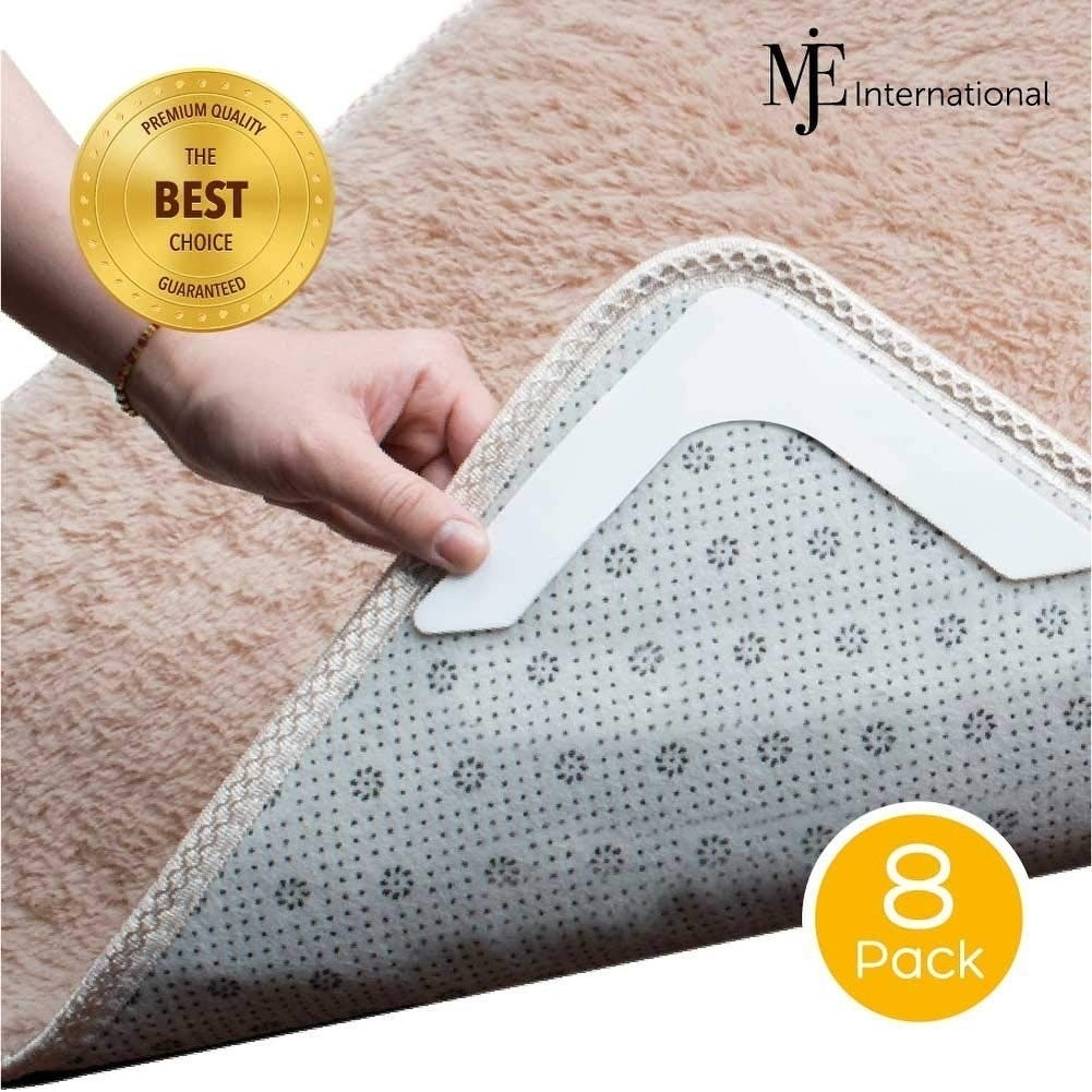 MJE International Combo Pack Anti Curl & Anti Slip 8 PCS Rug Grippers Accessible to All Floors. - 8