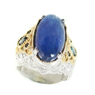 Michael Valitutti Palladium Silver Kyanite, London Blue Topaz & Blue Sapphire Ring