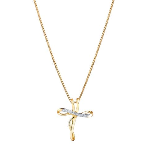 14K Yellow Gold Diamond Accent Infinity Cross Pendant Necklace with 18-inch Chain