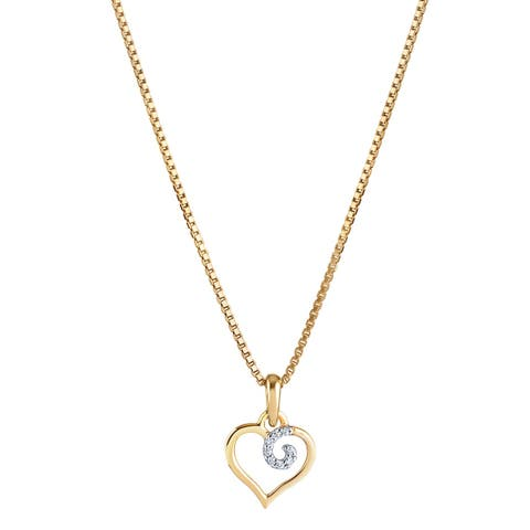 14K Yellow Gold Diamond Accent Dainty Heart Pendant with 18-inch Chain