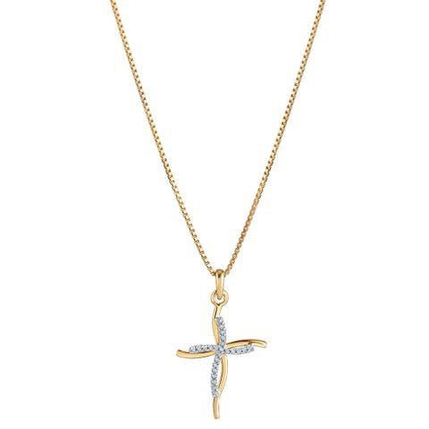 14K Yellow Gold Diamond Accent Double Cross Pendant with 18-inch Chain