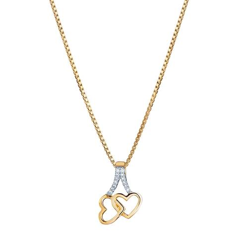 14K Yellow Gold Diamond Accent Interlocking Hearts Pendant with 18-inch Chain