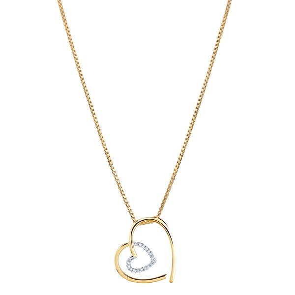 14K Yellow Gold Diamond Accent Modern Heart Pendant with 18-inch Chain