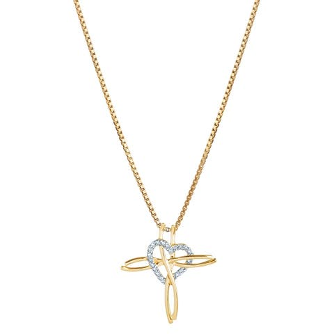 14K Yellow Gold Diamond Accent Cross Heart Pendant with 18-inch Chain