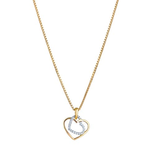 14K Yellow Gold Diamond Accent Double Heart Pendant with 18-inch Chain