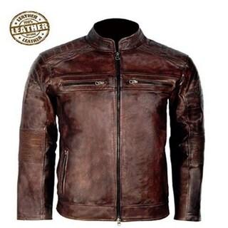 Cafe Racer Bikers Leather Jacket For Men