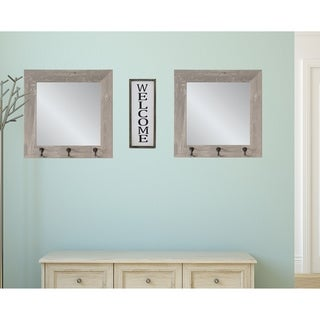 2 Piece Weathered Barnwood Square Hook Mirror Set - Gray/Brown