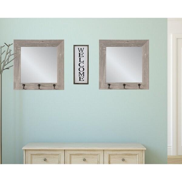 2 Piece Weathered Barnwood Square Hook Mirror Set - Gray/Brown
