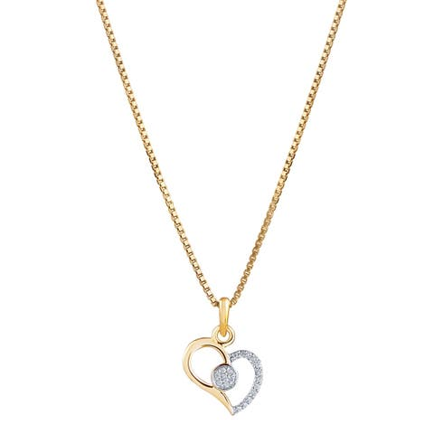 14K Yellow Gold Diamond Accent Arch Tilted Heart Pendant with 18-inch Chain