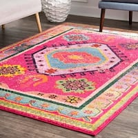 nuLOOM Pink Bohemian Tribal Festival Summer Glam Faded Border Area Rug - 9' x 12'