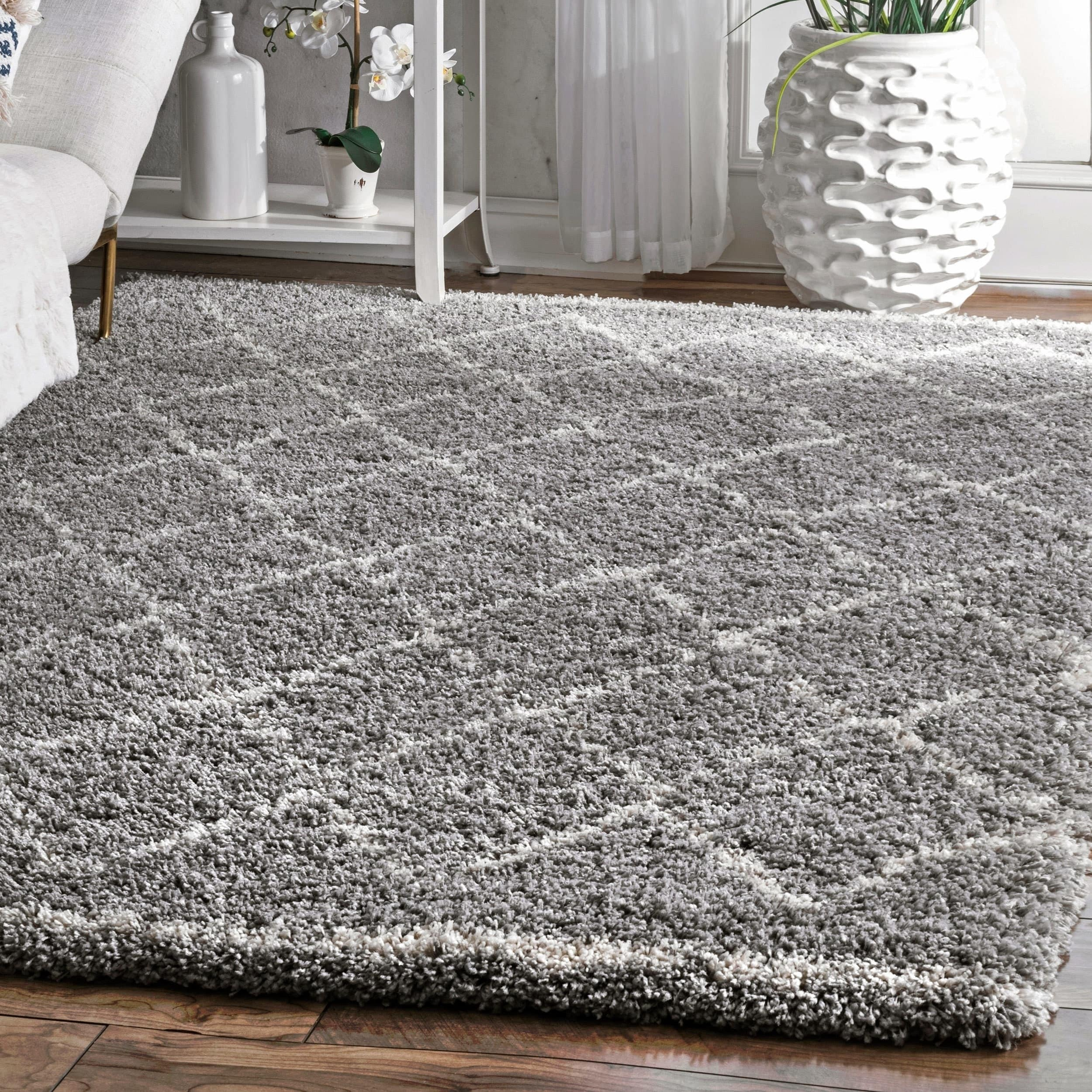 The Curated Nomad Delroy Manor Grey Soft and Plush Moroccan Trellis Shag Area Rug - 67 x 9 - 67 x 9 (67 x 9 - Grey)