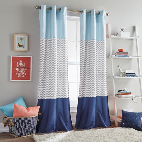 Chevron Colorblock Room Darkening Grommet Curtain Panel Pair