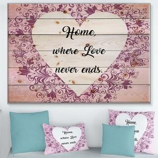 Designart 'Home where Love never ends. ' Textual Entrance Art on Wood Wall Art - Purple