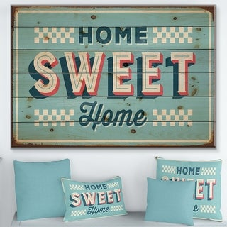 Designart 'Home Sweet Home Vintage Rusty Metal' Textual Entrance Art on Wood Wall Art - Red/White