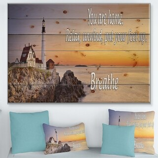 Designart 'You are home. Relax, unwind, put your feet up,' Textual Entrance Art on Wood Wall Art - Multi-color