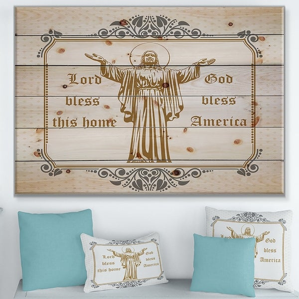 Designart 'Lord Bless this house. Lord Bless America' Textual Entrance Art on Wood Wall Art - Grey