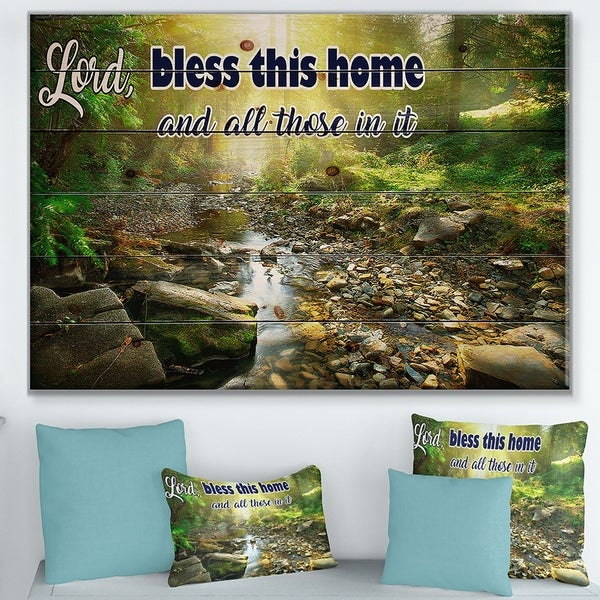Designart 'Lord Bless this house and all those in it. Forest sunshine' Textual Entrance Art on Wood Wall Art - Green