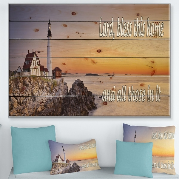 Designart 'Lord Bless this house and all those in it. Sunset' Textual Entrance Art on Wood Wall Art - Multi-color