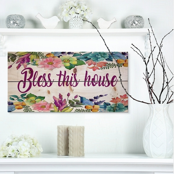 Designart 'Bless this house. Floral' Textual Entrance Art on Wood Wall Art - Multi-color