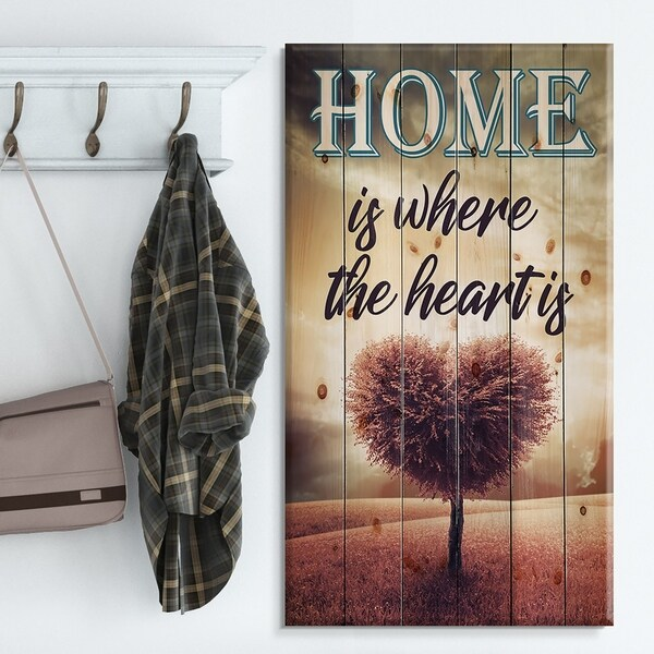Designart 'Home is where the heart is. Pink Heart Tree' Textual Entrance Art on Wood Wall Art - Black