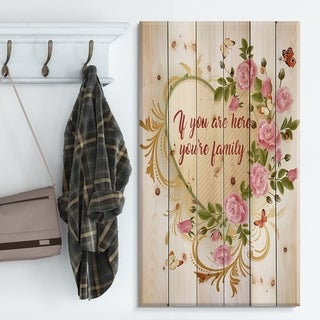 Designart 'Home where Love never ends. Pink Roses' Textual Entrance Art on Wood Wall Art - Green/Red
