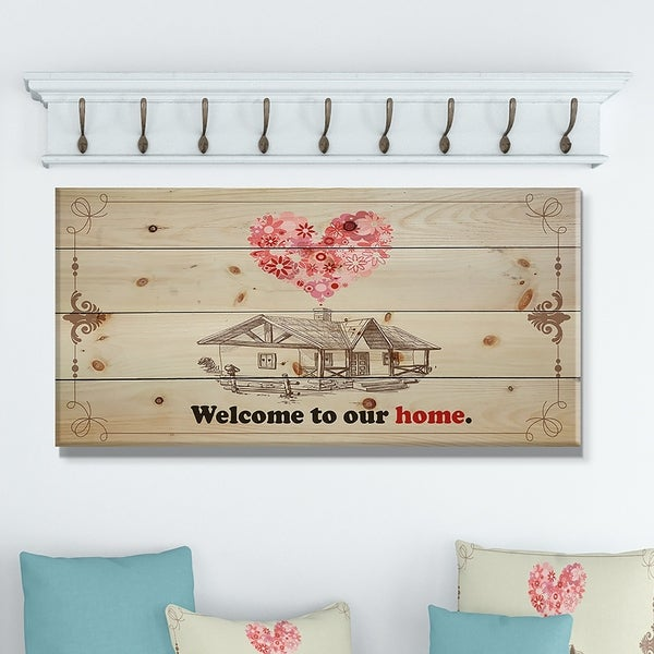 Designart 'Welcome to our home. Vintage drawing' Textual Entrance Art on Wood Wall Art - Pink/Red