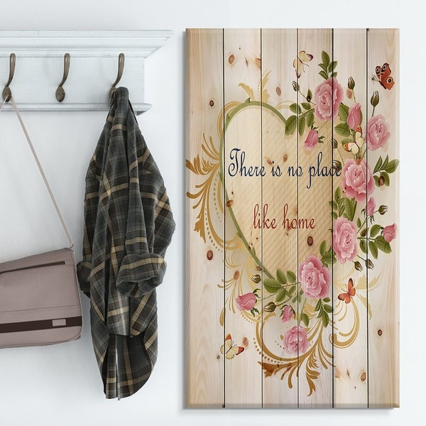 Designart 'Our door is always open. Floral butterfly heart' Textual Entrance Art on Wood Wall Art - Green/Red