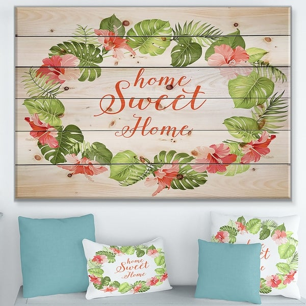 Designart 'Home Sweet Home Floral' Textual Entrance Art on Wood Wall Art - Green/Red