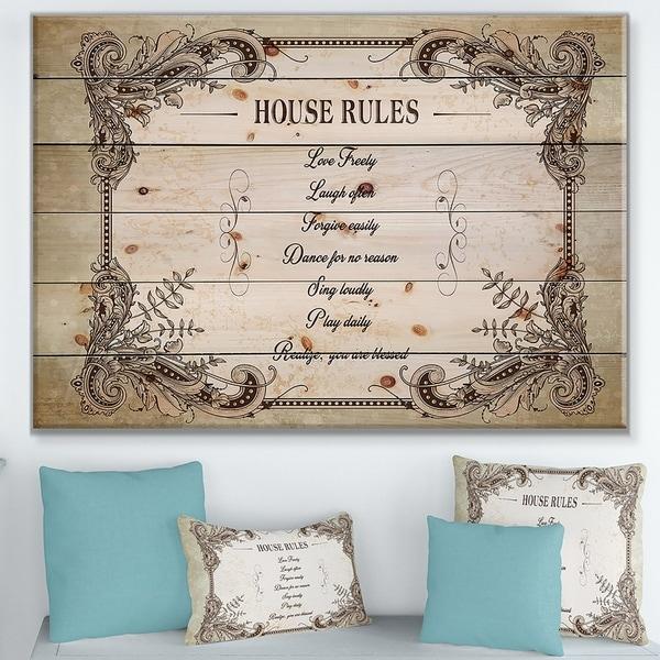 Designart 'House Rules. Vintage Frame' Textual Entrance Art on Wood Wall Art - Brown