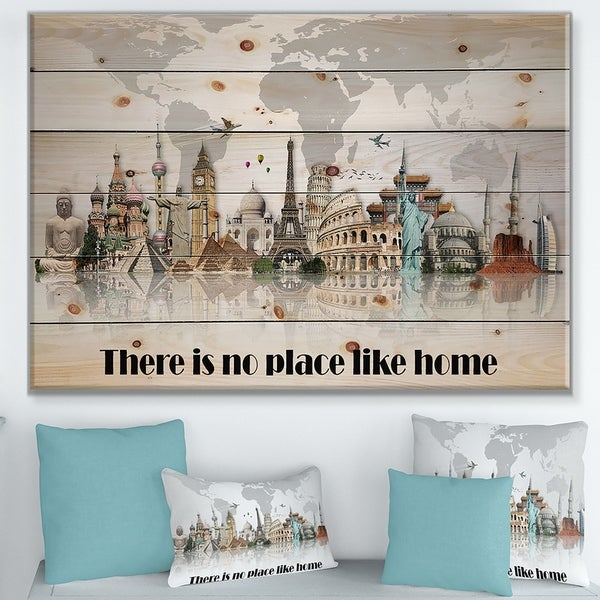 Designart 'There is no place like home. Word tour' Textual Entrance Art on Wood Wall Art - Grey
