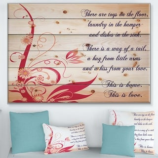 Designart 'There are toys on the floor. This is Love' Textual Entrance Art on Wood Wall Art - Multi-color