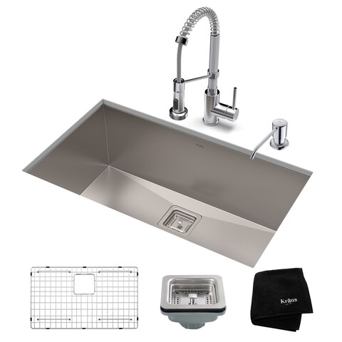 Kraus 28-1/2 in Stainless Steel Kitchen Sink, Faucet, Soap Dispenser