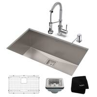 Kraus 28-1/2 in Stainless Steel Kitchen Sink, Faucet, Soap Dispenser
