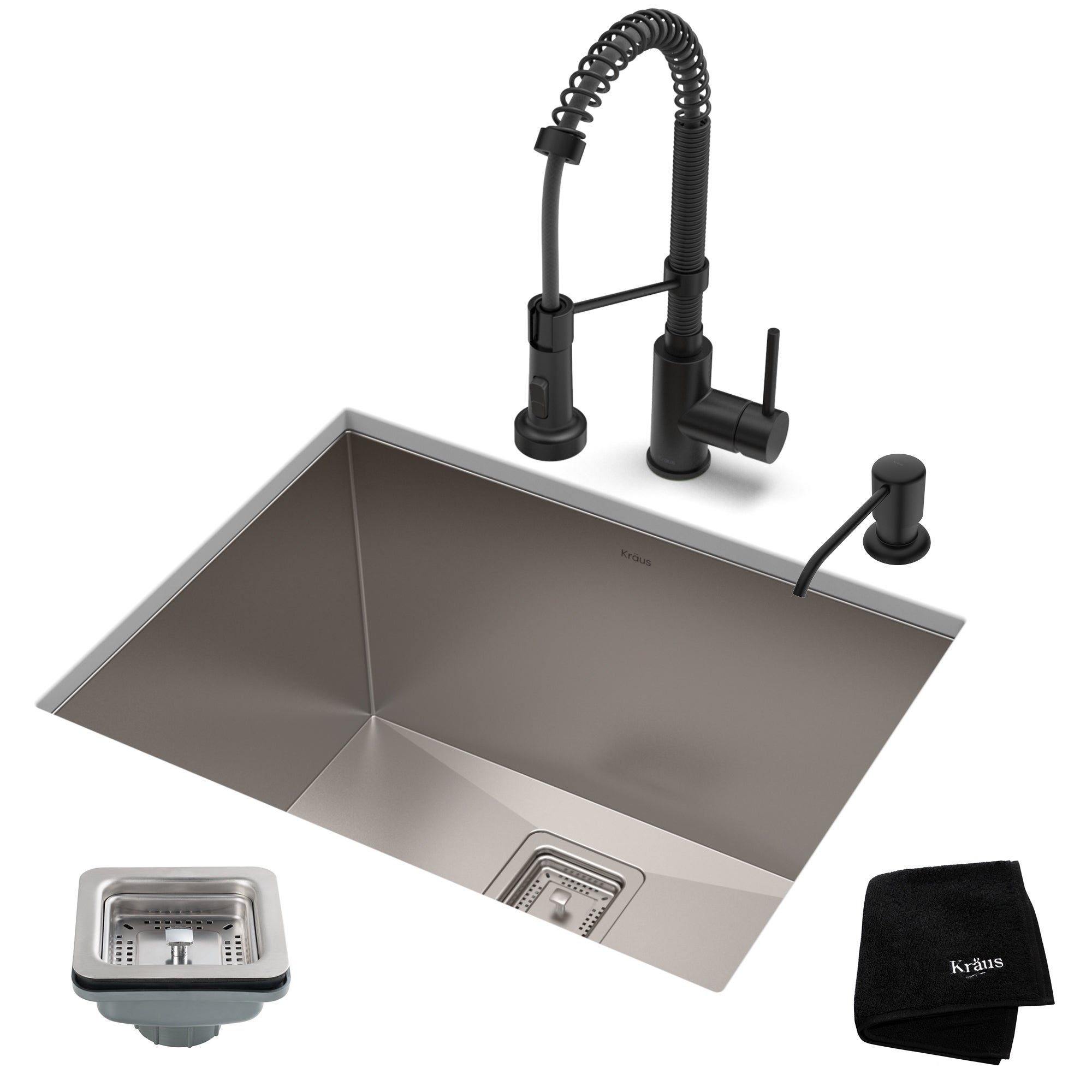 Details about Kraus 24-inch Stainless Steel Kitchen Sink, Faucet, Soap