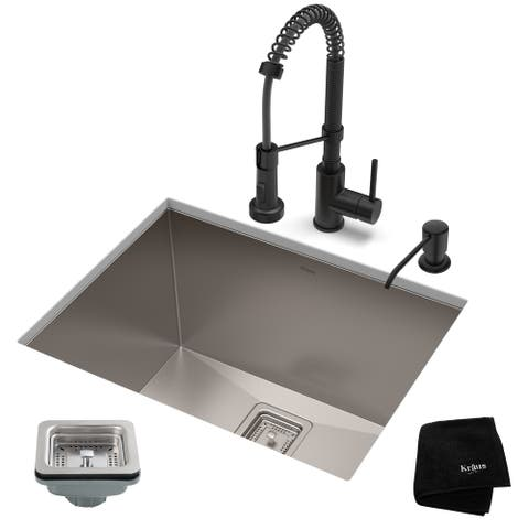 Kraus 24-inch Stainless Steel Kitchen Sink, Faucet, Soap Dispenser Set