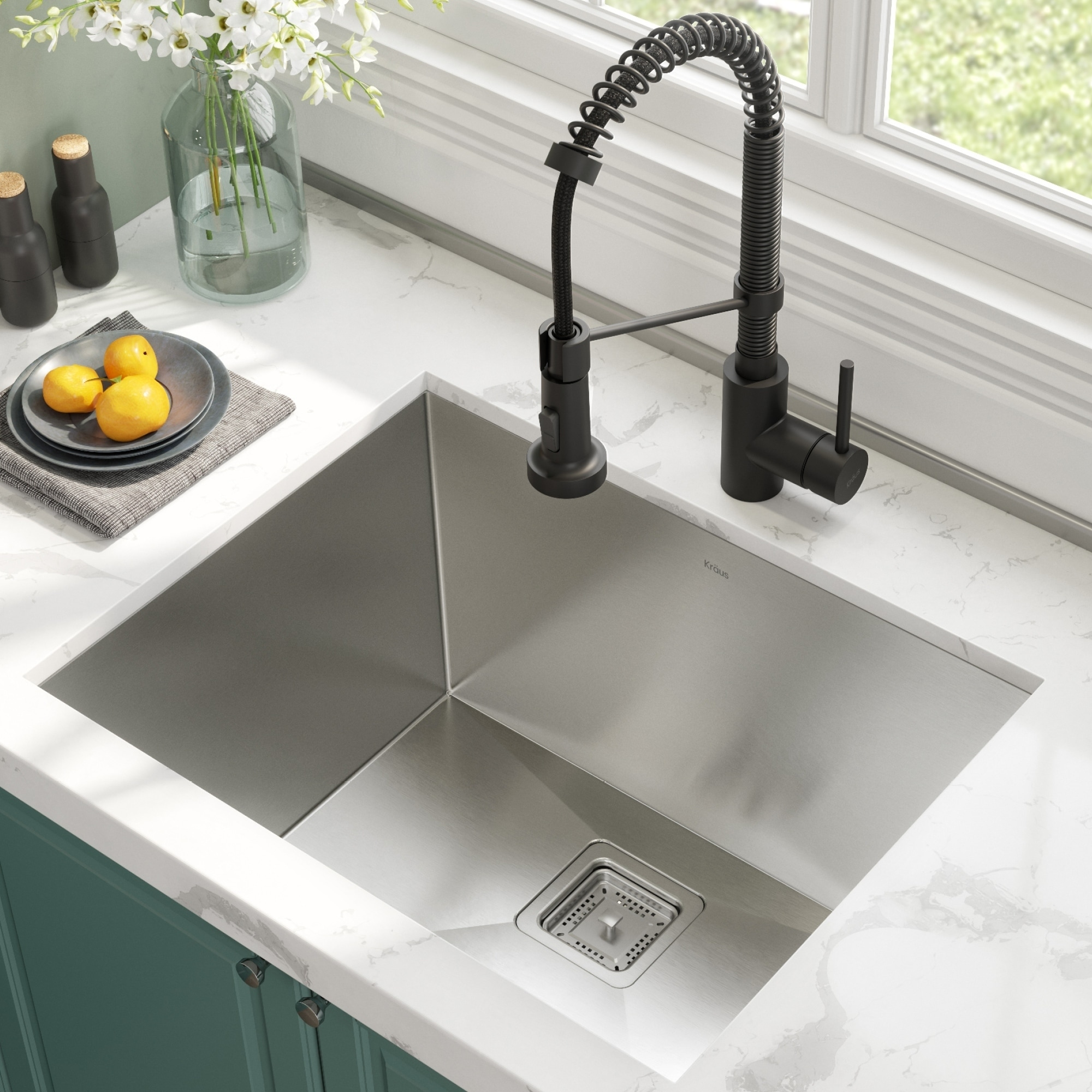 Kraus 24-inch Stainless Steel Kitchen Sink, Faucet, Soap