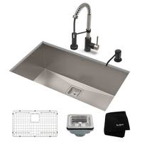 Kraus 31-1/2 in Stainless Steel Kitchen Sink, Faucet, Soap Dispenser