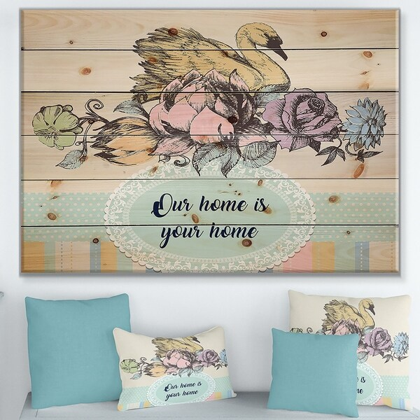 Designart 'Our home is your home Floral' Textual Entrance Art on Wood Wall Art - Multi-color