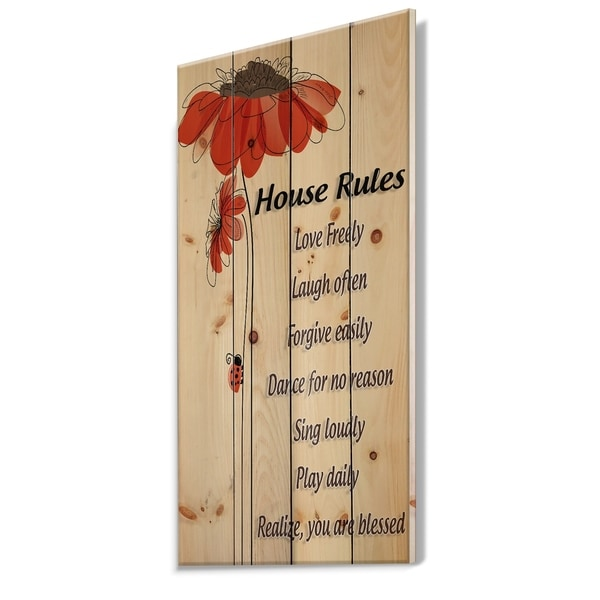 Designart 'House Rules. Red Floral' Textual Entrance Art on Wood Wall Art