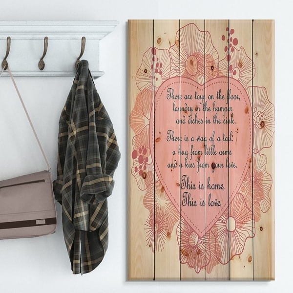 Designart 'This is home. This is Love. Pink floral heart' Textual Entrance Art on Wood Wall Art