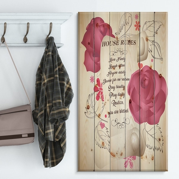 Designart 'House rules. Pink Rose Charter' Textual Entrance Art on Wood Wall Art