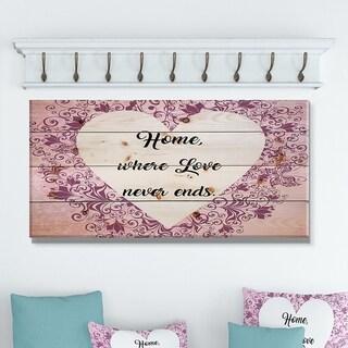 Designart 'Home where Love never ends. Purple Heart' Textual Entrance Art on Wood Wall Art