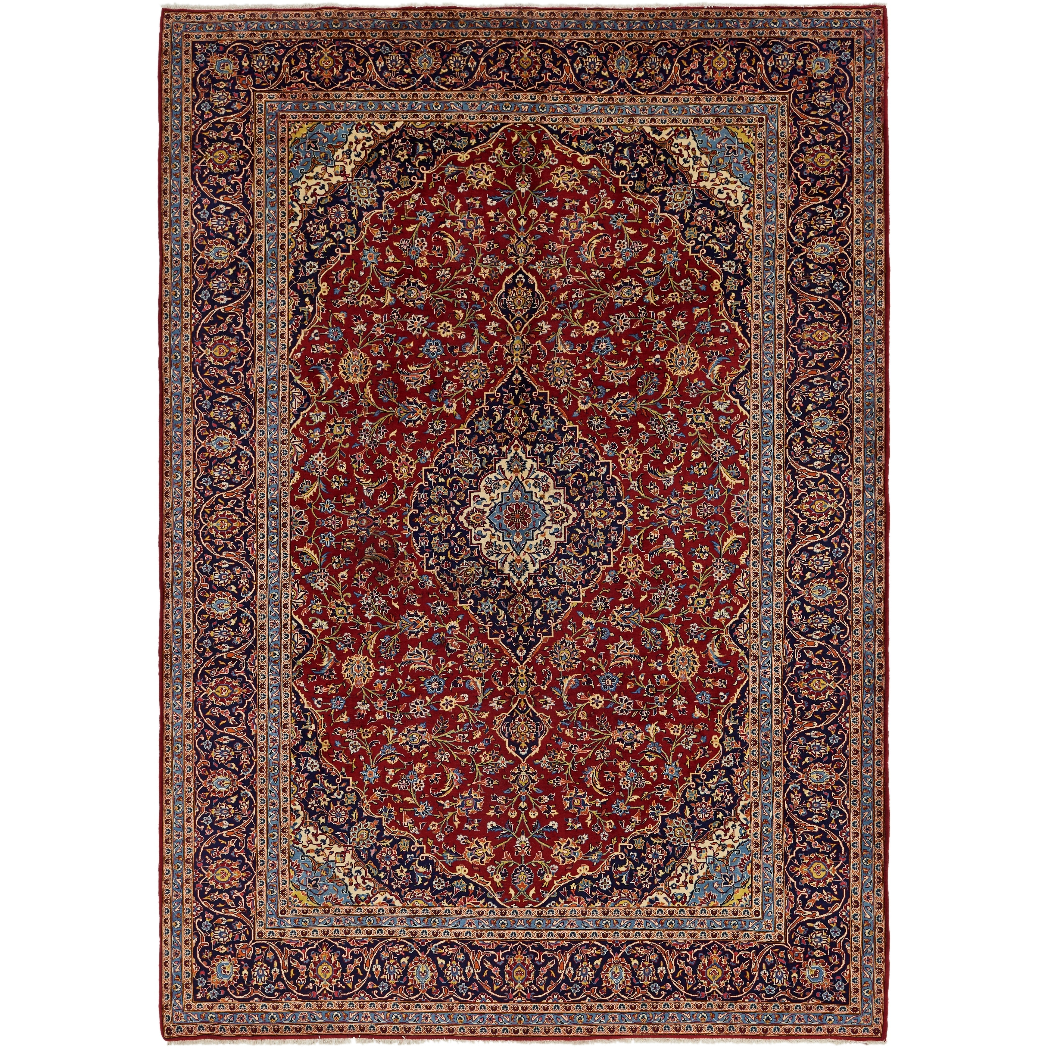 Hand Knotted Kashan Wool Area Rug - 9 8 x 14 2 (Red - 9 8 x 14 2)