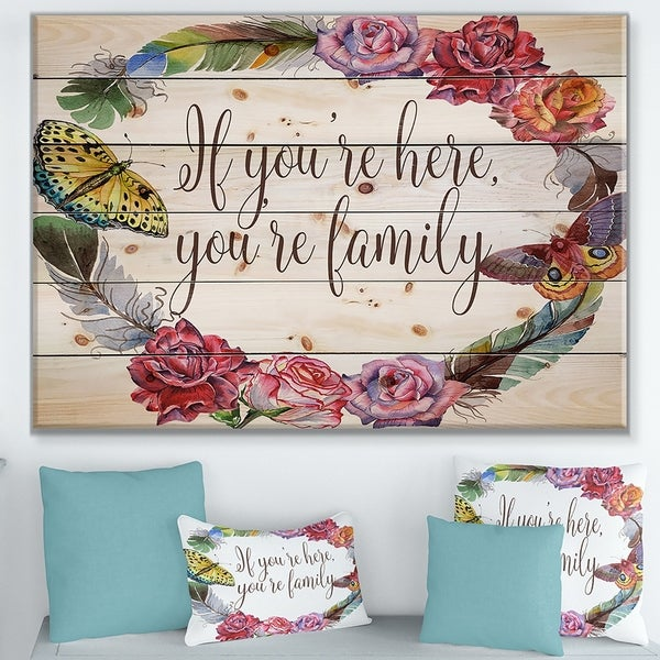 Designart 'If you're here, you're family. Floral' Textual Entrance Art on Wood Wall Art - Multi-color