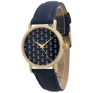Olivia Pratt Mini Anchors Leather Strap Watch