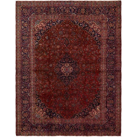 Hand Knotted Kashan Antique Wool Area Rug - 9' 9 x 12' 3