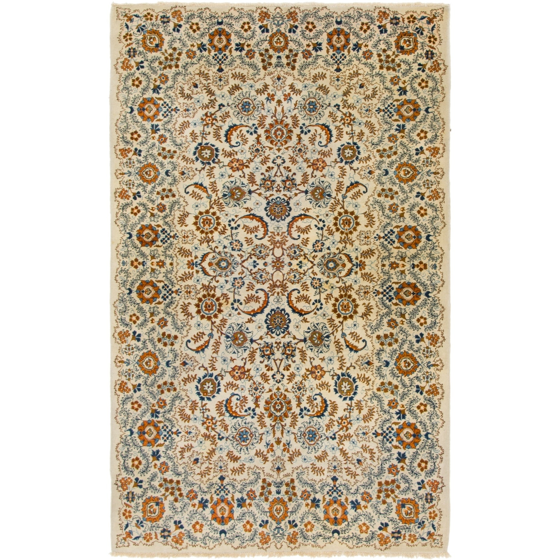 Hand Knotted Kashan Semi Antique Wool Area Rug - 4 8 x 7 8 (Ivory - 4 8 x 7 8)