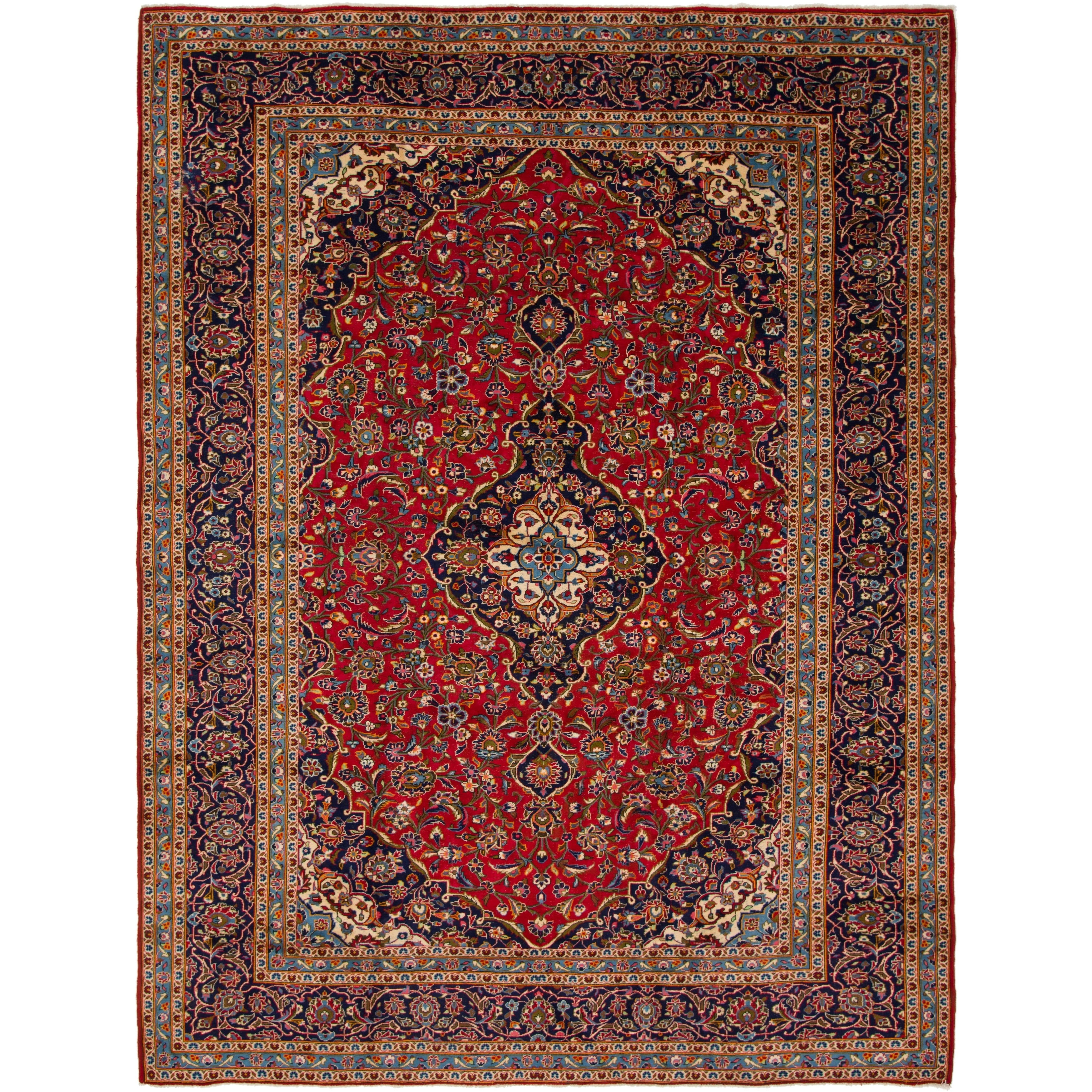 Hand Knotted Kashan Semi Antique Wool Area Rug - 9 10 x 12 10 (Red - 9 10 x 12 10)